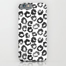 Leopard Spot Ditsy | Black and White iPhone Case