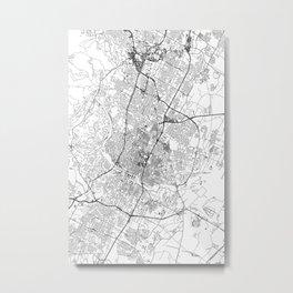 Austin White Map Metal Print