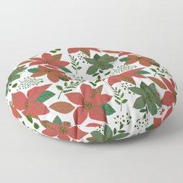 Serene Poinsettia Vintage Red On White Floor Pillow