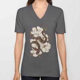 Snake and Magnolias Unisex V-Ausschnitt