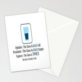 optimist pessimist engineer glas half full empty Stationery Cards