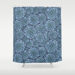 Blue Succulent Pattern Shower Curtain