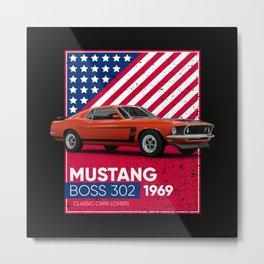 Classic Cars Mustang Mach Boss 302 1969 Metal Print