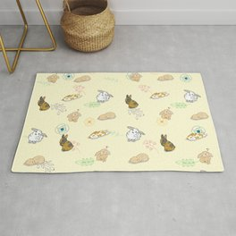 Yellow Bunny Floral Pattern Rug