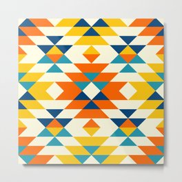 Native American colorful traditional navajo pattern Metal Print