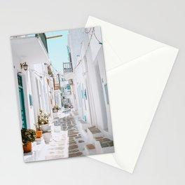 Street in Mykonos, Greece Stationery Cards