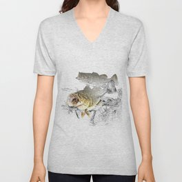 Largemouth Black Bass Fishing Art Unisex V-Neck