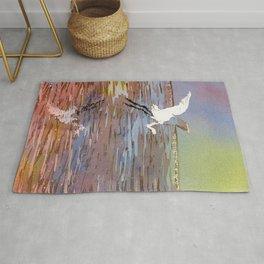 Jamaican crane flying over water in Montego Bay.  Watercolor painting crane art bird Jamaica Rug