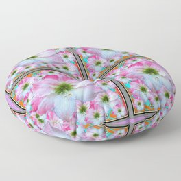 PINK-WHITE AMARYLLIS PATTERN DESIGNS Floor Pillow