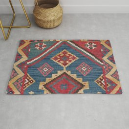 Vintage Woven Kilim // 19th Century Colorful Royal Blue Yellow Authentic Classic Ornate Accent Patte Rug
