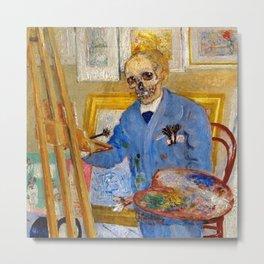 'The Skeleton Painter -- The Artist's Life,' portrait painting by James Ensor Metal Print