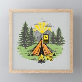 Recharging Offline Camping Dog Framed Mini Art Print