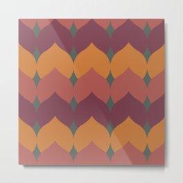 Deco Leaves in Pink and Orange Metal Print