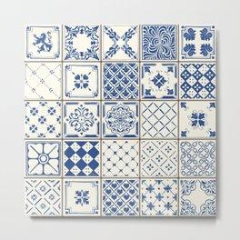 Blue Ceramic Tiles Metal Print