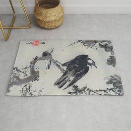 Kawanabe Kyosai - Starlings On A Branch - Digital Remastered Edition Rug