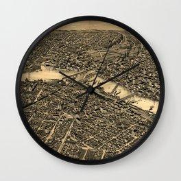 Vintage Map of Rockford Illinois (1891) Wall Clock