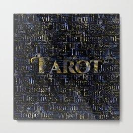 Tarot Major Arcana Word Art  Gold and Gemstone Metal Print