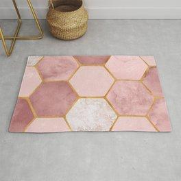 Pink and Gold Hexagon Print Rug