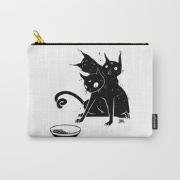 Creepy Cute Three Headed Black Cat Artwork Carry-All Pouch