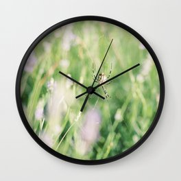 Spider Web in Lavender Field | Fine-art Nature Photography Wall Clock