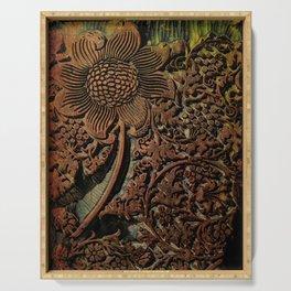 Antique Arts & Crafts era Wood Carving, wood block  Serving Tray