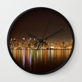 San Diego Skyline Night Wall Clock