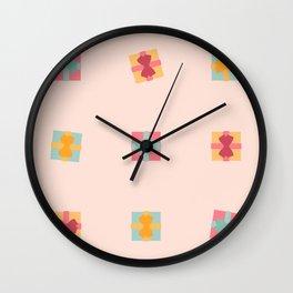 Christmas Present Pastel Pattern Wall Clock