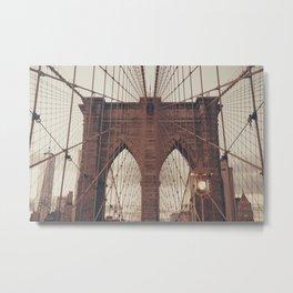 Moody Brooklyn Bridge Metal Print