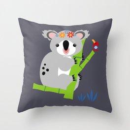 Lady Koala Throw Pillow