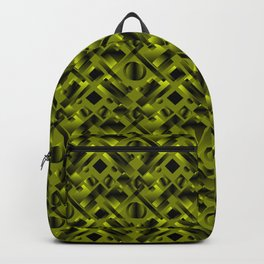 Stylish design with rotating circles and yellow rectangles from dark stripes. Backpack