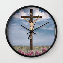 Jesus on the Cross Illustration Wall Clock
