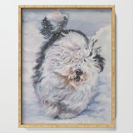 Old English Sheepdog dog art from an original painting by L.A.Shepard Serving Tray
