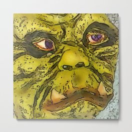 Creepy Morphed Turtle Monster Cartoon Metal Print