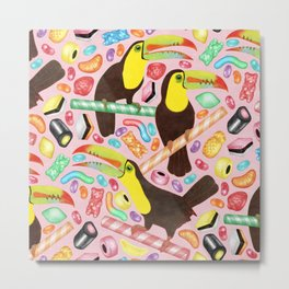 Toucandy - a sugary paradise with jelly beans and licorice surround tropical toucans on candy canes Metal Print