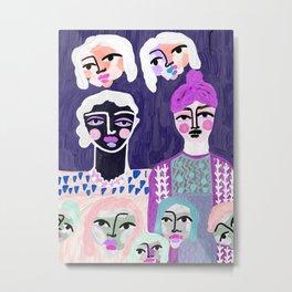 Puppet family, original artwork, canvas print, colorful bold Metal Print