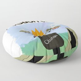 Wisconsin Mosquitoes Cartoon - Camping by Tiki Torch Floor Pillow
