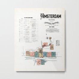 Amsterdam New York Map Metal Print