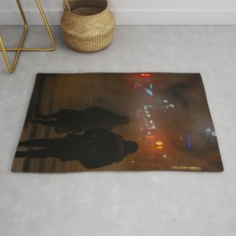 Couples on Street at Night Rug