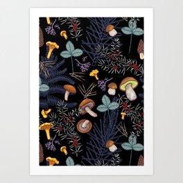 dark wild forest mushrooms Kunstdrucke