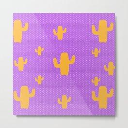 Mustard Cactus White Poka Dots in Purple Background Pattern Metal Print