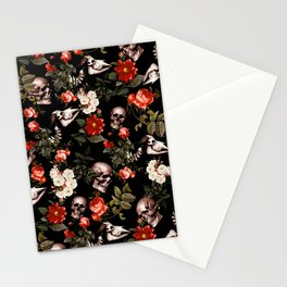 Floral and Skull Dark Pattern Stationery Cards