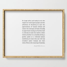 To laugh often and much, Ralph Waldo Emerson Quote Serving Tray