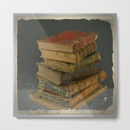 GRUBY SHABBY CHIC ANTIQUE LIBRARY BOOKS Metal Print