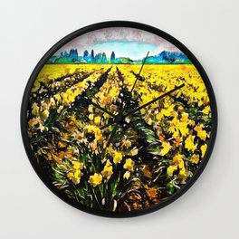 Golden Daffodil Field Wall Clock