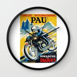 Grand Prix de Pau, Race poster, vintage motorcycle poster, retro poster, Wall Clock