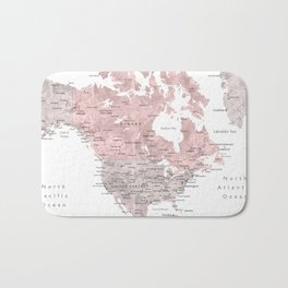 Dusty pink and grey detailed watercolor world map Badematte