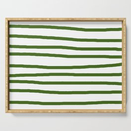 Simply Drawn Stripes in Jungle Green Serving Tray
