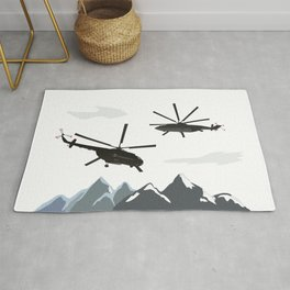 Black Helicopters in the Mountains Rug