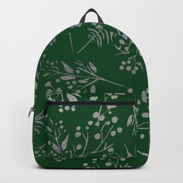 Forest green country chic faux silver floral leaves Backpack
