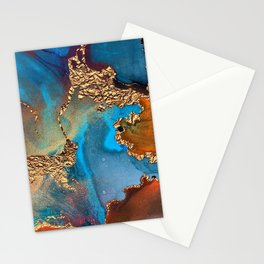 Luxurious Abstract Glitter Gold and Blue Paint Texture Stationery Cards